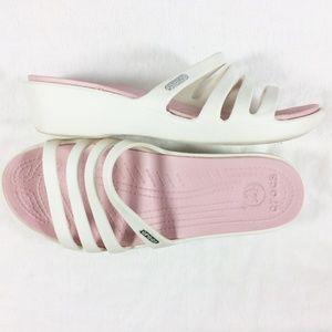 Crocs sandals slides 7W white pink